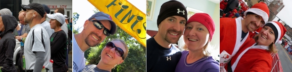L to R: October (Mount Desert Island Marathon), October (Big Sur River Run 10K), November (Fisher Cats Thanksgiving Day 5K), and December (Santa Shuffle 3-Miler)