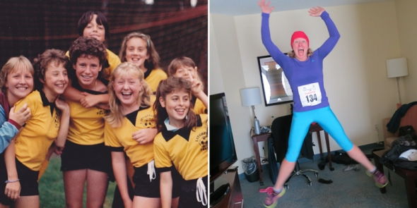 Soccer shenanigans (c. 1986) and grown-up joy (c. 2012)