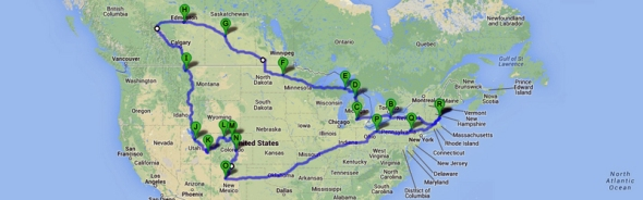 "A rough depiction of our route this summer...including the elusive last three states on my ""visit them all"" list."