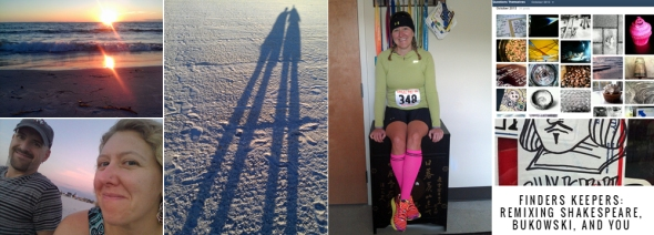 L to R: Threesunset scenes in Florida; 5K racing on my birthday; my October photo project; and M's new poetry blog