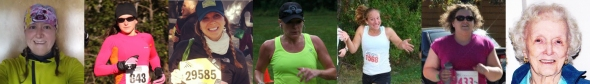 "Me, after this morning's run, and the six ladies I had the pleasure of ""running"" with: Meg, Sam, Suz, Mary, Heather, and Mona"