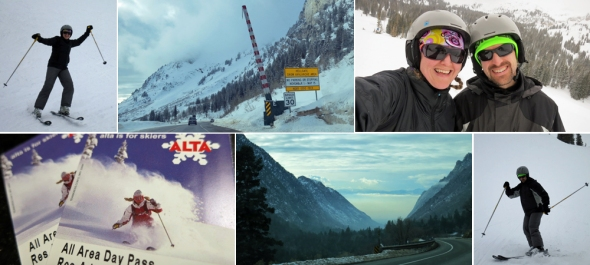 Alta adventures, clockwise from top left: J on the slopes; passing through avalanche gates; summit selfie; M sliding to a stop; cool cloud inversion in the canyon; and handy RFID lift tickets.